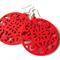 Bright Deep Pink Wooden Circle Earrings
