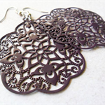 Muted Plum Purple Hand Painted Moroccan Style Filigree Earrings