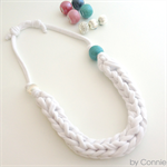 Chunky white yarn necklace with ceramic bead and silver bead adjustable length