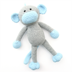 'Miles' the Crochet Monkey - grey & blue - *READY TO POST*