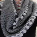 crochet Infinity scarf grey with pom poms