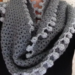 crochet Infinity scarf grey with pom poms