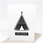 Birthday Card Boy - Teepee Monochrome - HBC188