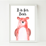 Bear Watercolor Look Nursery Baby Print - Option to Add your Own Words A4 Print