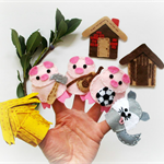 Three Little Pigs - set of 7 eco friendly felt finger puppets, pretend play