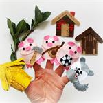Three Little Pigs - set of 7 eco friendly felt finger puppets, pretend play