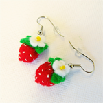 Miniature strawberry felt earrings