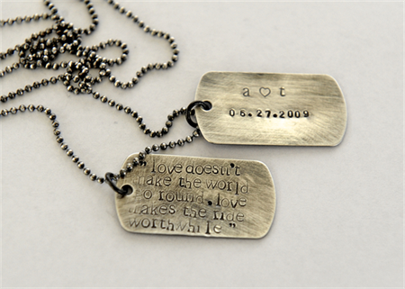 Groom Gift, Anniversary Husband Gift, Mens Dog Tag Necklace, Personalised Quote