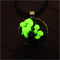 Glow in the dark 3D fungi/mushroom pendant with leaf background, leather chord,