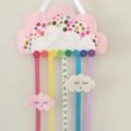 Cloud, rainbow hair clips holder, felt, soft pink, organiser, polka dots