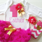 Customized 1st Birthday Outfit includes onesie, headband & legwarmers