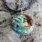 3D Glow in the dark wave surf pendant necklace, sunset barrel surfing, beach