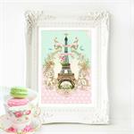 Eiffel Tower Print, French  Provincial decor, A4 print