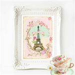 Eiffel Tower Print, Pink, French Provincial decor, A4 print