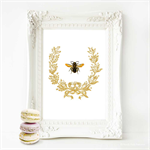 Bee Print, French  Provincial decor, Acorn wreath, A4 print