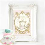Once upon a time print, Nursery print, baby girl nursery print, Pink, A4