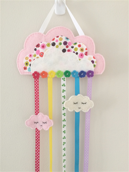 Cloud, rainbow hair clips holder, felt, soft pink, organiser, polka dots