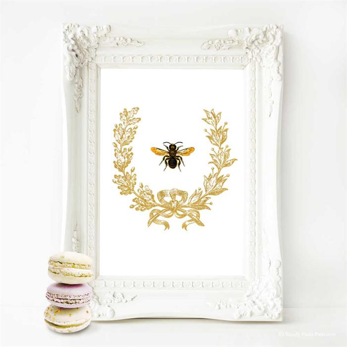 Bee Print French Provincial Decor Acorn Wreath A4 Print