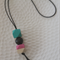 Hand painted Geometric Drop - Pink, Black and Turquoise