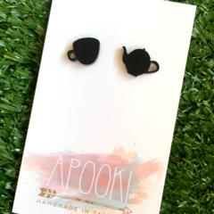Buy 3 get 4th FREE Black Cup of Tea Earrings