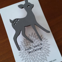 Hand Painted Brooch - Grey Deer