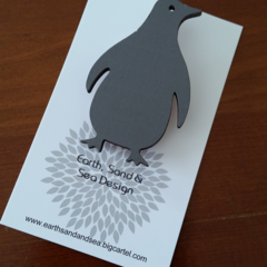 Hand Painted Brooch - Grey Penguin
