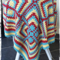 Handmade Crochet Lap Quilt / Baby Blanket. Teal, Red and Yellow...