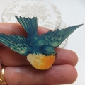 Vintage Blue and Yellow Wooden Bird Brooch