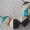 Hand Painted Geometric Colour Pop - Turquiose, Black and Grey