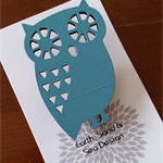 Hand Painted Brooch - Blue Owl