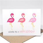 Birthday Card Female - Pink Flamingos - HBF152