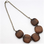 Square dark wood bead and brass bead necklace with chain