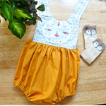 Monochrome and Mustard Romper with Vintage Doily bib - Size 1