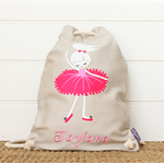 Personalised Kids Backpack, library Bag, Duffle Bag - Dancer