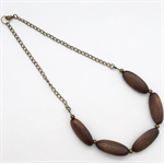 Simple thin oval wood bead and brass necklace with chain