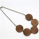 Brass bead and round dark wood bead necklace with chain