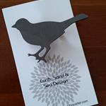 Hand Painted Brooch - Grey Bird