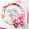Happy Mother's Day Mum bright pink floral design with butterfly card