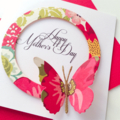 Happy Mother's Day multi-coloured floral design with butterfly handmade card