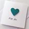 Aqua teal glitter heart love valentines wedding engagement anniversary card