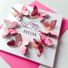 Happy Mother's Day MUM bright pink floral design with butterfly circle card