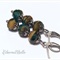 STAINLESS STEEL Czech picasso turquoise vintage earrings