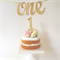 Gold Glitter 'One' Cake Topper, 1st Birthday Party Cake Topper Decoration