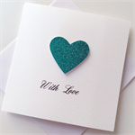 Aqua teal glitter heart love valentines wedding engagement anniversary card