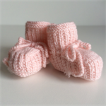 Pair of Baby Girls Booties | Pure Wool | 3 - 6 Months | Pale Pink | Hand Knitted