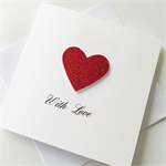 Ruby red glitter heart love valentines wedding engagement anniversary card