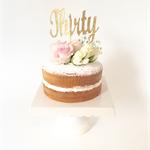 Gold Glitter 'Thirty' Cake Topper, 30th Birthday Cake