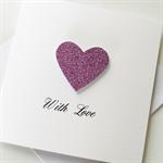 Pink glitter heart love valentines wedding engagement anniversary card