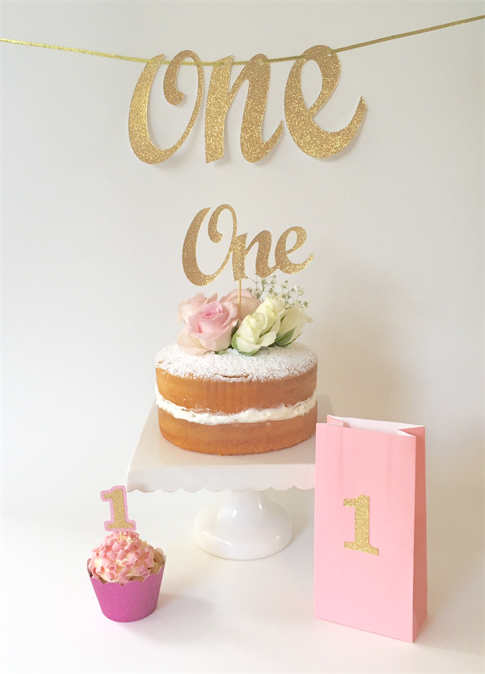 Gold glitter 39 one 39 cake topper 1st birthday party cake for 1st birthday cake decoration