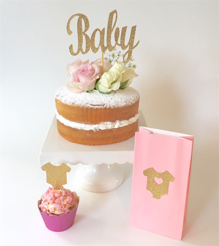 Gold Glitter Baby Cake Topper Shower Decoration Party